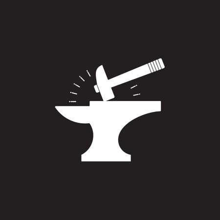 springkel hammer iron blacksmith symbol logo vector
