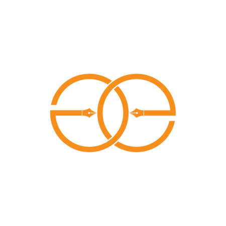 letter ge pen writer design logo vector