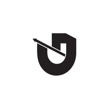 letter u j simple geometric arrow logo vector