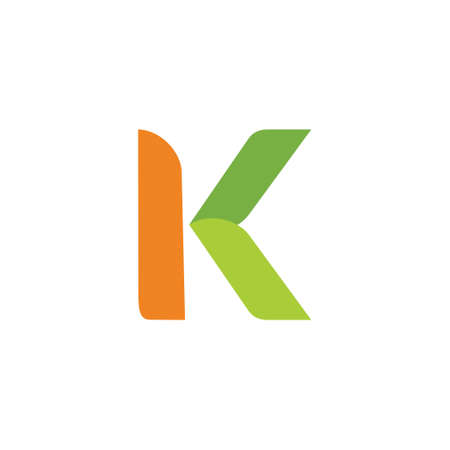 lettre k courbes simples feuille vecteur logo géométrique