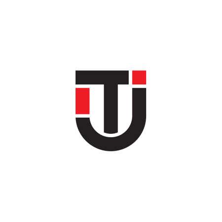 letter tj simple geometric logo vector