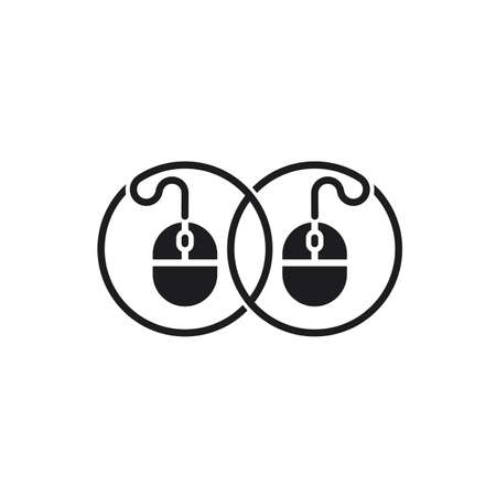 linked pc mouse cable symbol logo vector