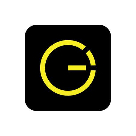 letter ge simple square geometric line logo vector
