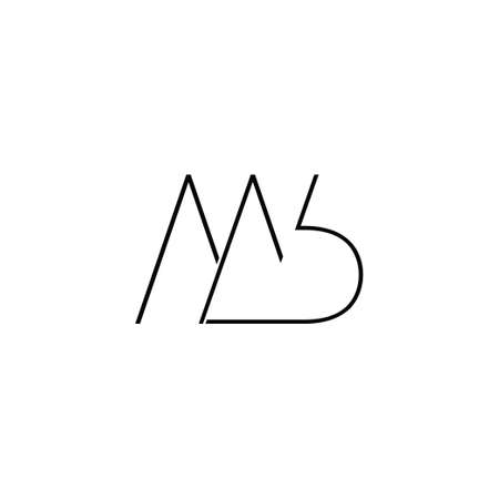 letter mb simple thin linear symbol logo vector