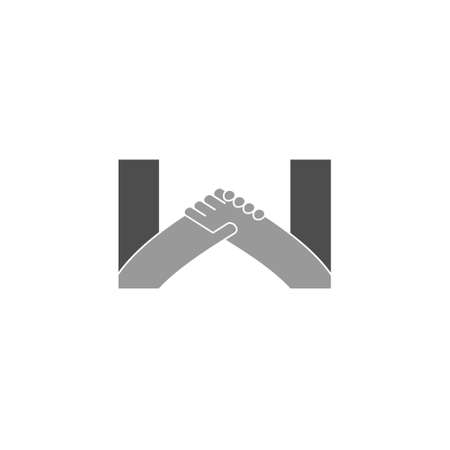 letter w holding hand strong team design vector
