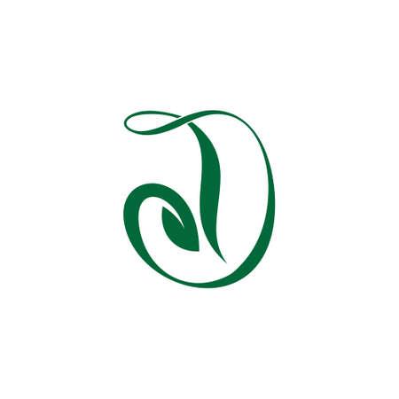 letter d curves nature green leaf symbol logo vector