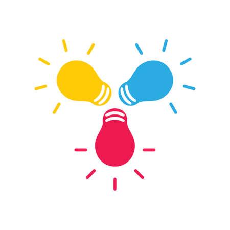shine colorful light bulbs idea symbol vector