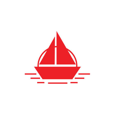 simple geometric boat ship ocean stripes design logo vector