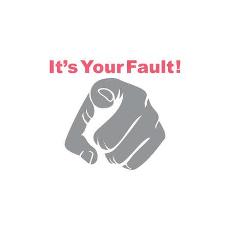 pointing hand your fault symbol vector Ilustração