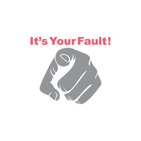 pointing hand your fault symbol vector Illustration