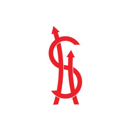 letter s money dollar arrow up symbol vector Vektoros illusztráció