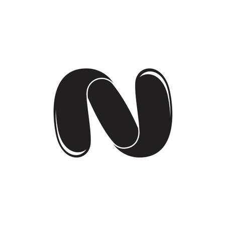 letter n motion 3d flat logo vector