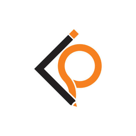 letters ip or iq pencil design logo vector