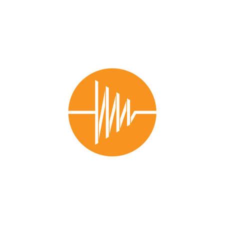 pulse simple circle geometric line symbol logo vector