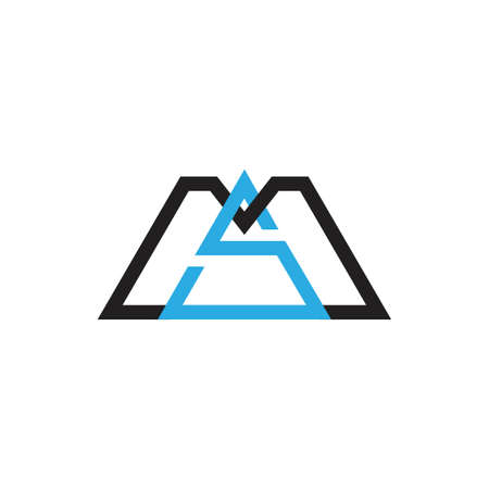 letter sm simple geometric triangle logo vector