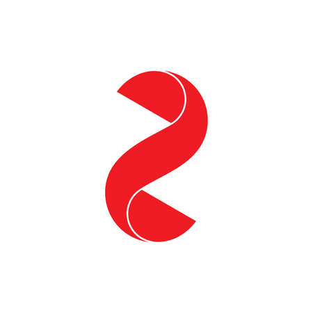number two 3d flat logo vector Ilustracja