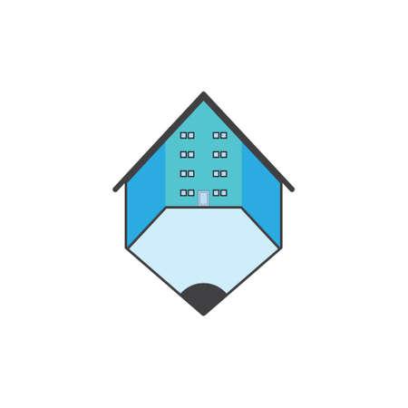 pencil home symbol logo vector