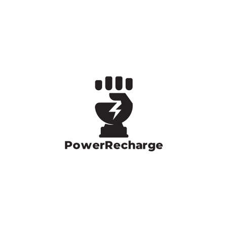 symbol logo vector of hand fist strong power clear flat design