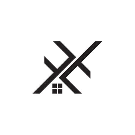 letter f t home shape logo vector