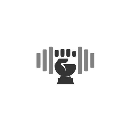 symbol logo vector of dumbbell barbell geometric design Ilustração