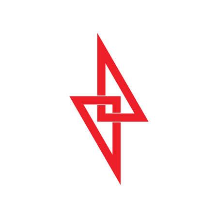 triangle linked thunder bolt shape overlap logo vector