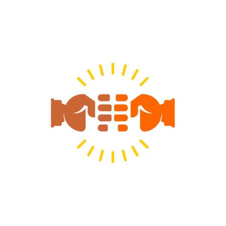 symbol logo vector of clash hand fist power shine flat design Archivio Fotografico - 138142307