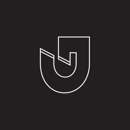 letter uj thin line simple geometric logo vector