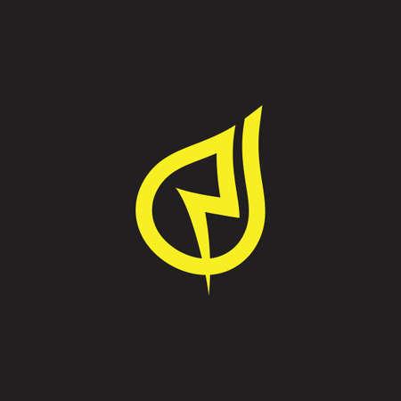 letter n thunder energy loop design logo vector