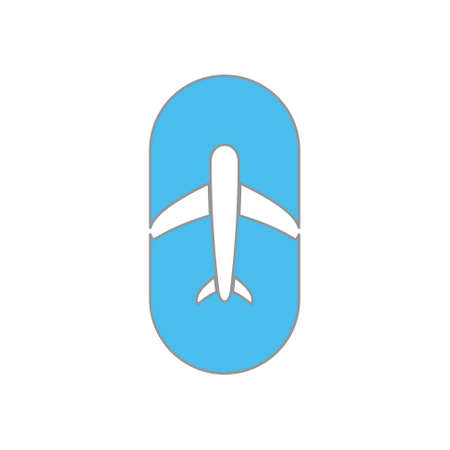 airplane circle negative space logo vector