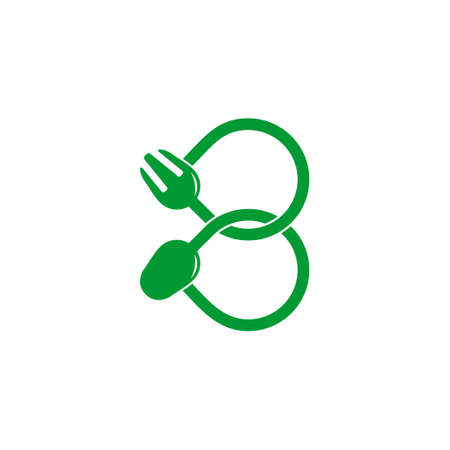symbol vector of linked loop spoon fork line design