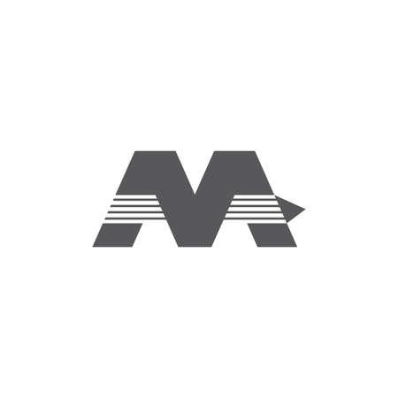 letter m stripes fast arrow geometric logo vector Foto de archivo - 138512772