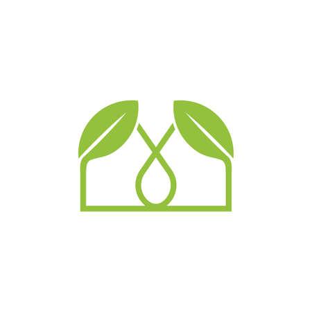 simple linked leaf home shape logo vector Foto de archivo - 138513507