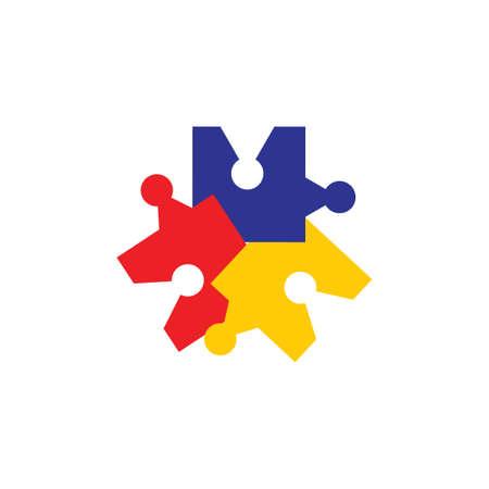 colorful puzzle logo vector Foto de archivo - 138513843