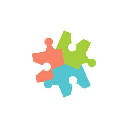 linked puzzle colorful geometric logo vector Foto de archivo - 138514216