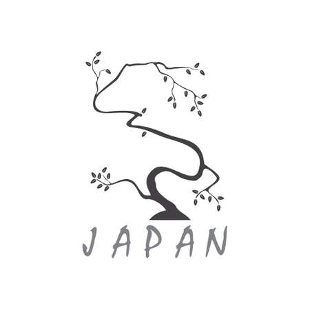 symbol vector of simple japan bonsai tree hand drawn design