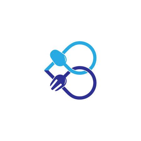 symbol vector of letter b spoon fork abstract line design Foto de archivo - 138514032