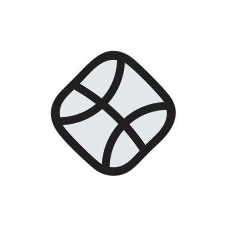 basket ball simple square geometric line logo vector