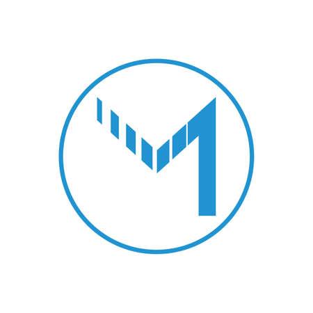 letter m stripes motion abstract logo vector Foto de archivo - 138514665
