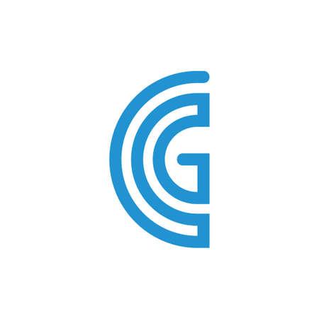 abstract letter cg linked curves geometric line logo Illusztráció
