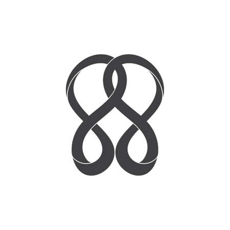 abstract linked infinity curves 3d motion design logo vector