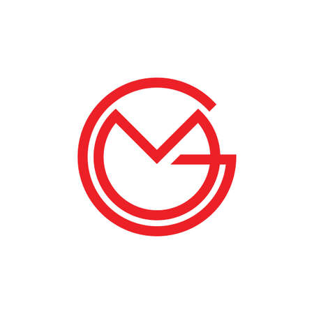 letters gm simple circle linked line logo vector Logo
