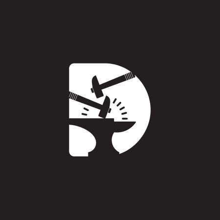 letter d spark iron hammer blacksmith symbol logo vector Illustration