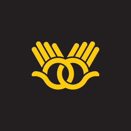 linked hand palm hi lines art symbol decoration vector