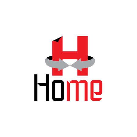 letter h home circle arrows 3d logo
