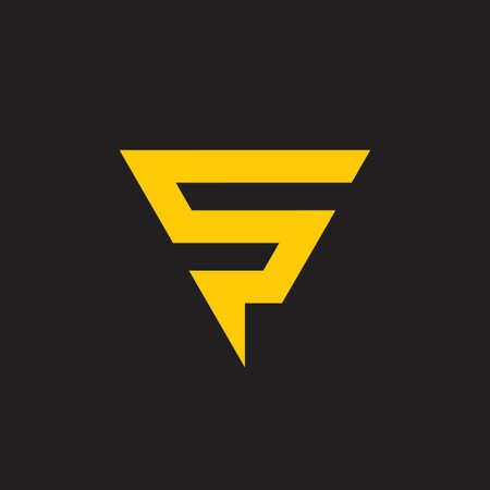 letter s thunder bolt triangle logo vector Ilustração