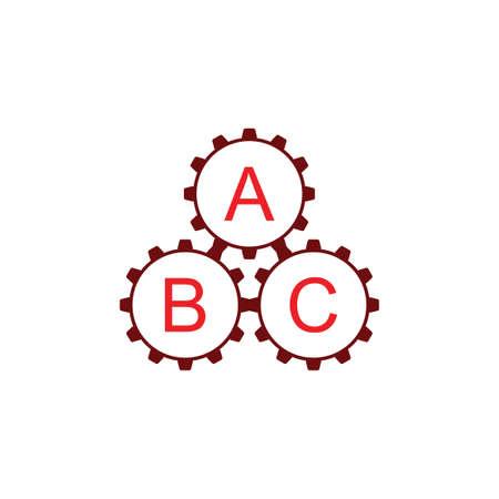 three cog machine system work symbol vector