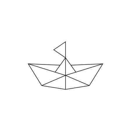 ship boat simple geometric line symbol vector
