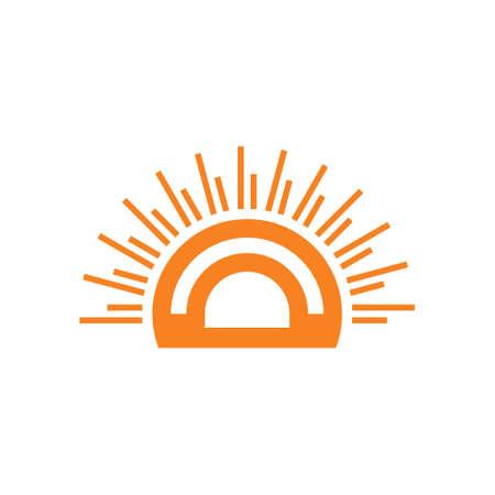 stripes geometric circle sun rays symbol logo vector