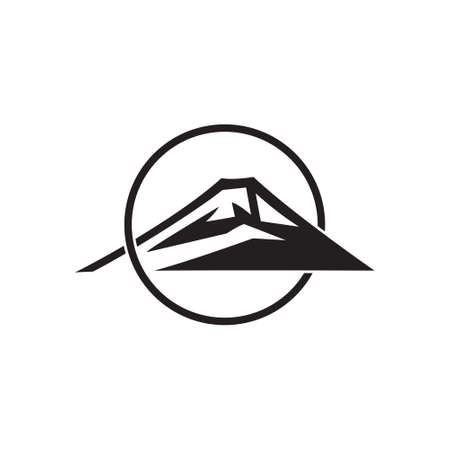 mountain sun overlapping flat monogram logo vector Illusztráció