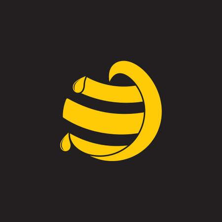 honey comb circle geometric fresh honey symbol vector